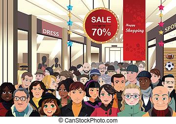 feriado, shopping, venda, cena