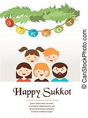 feriado, sukkot, familia , judío, sukkah