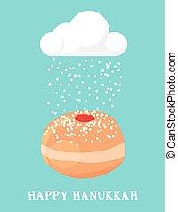 feriado, tarjeta, resumen, judío, hanukka