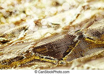 feriado, tecido, ouro, dof., macro, imagem, raso, sparkly, space., metálico, malha, fundo, cópia, extremamente, fita