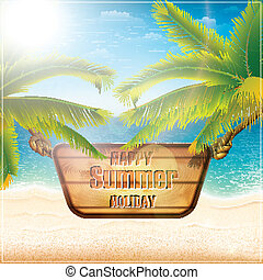 feriado verão, cartão, feliz