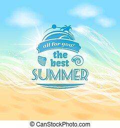 feriado verão, férias, fundo, cartaz