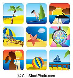feriado, verão, mar, ícones
