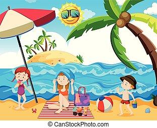 feriado verão, praia, família