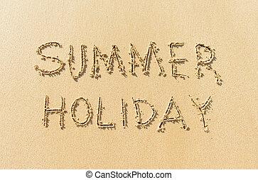 feriado verão, praia, palavra