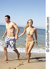 feriado verão, praia, retrato familiar