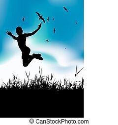 feriado, verão, pular, homem
