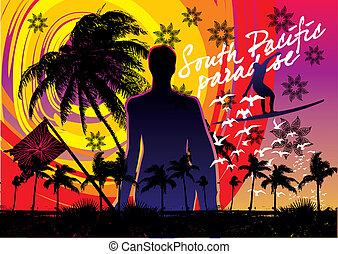 feriado, verão, surfboard, homem