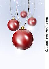 feriado, vermelho, bolas