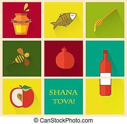 """feriado, year"""", nuevo, conjunto, rosh, hashana., """"happy, ..."""