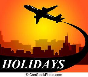 feriados, avião, mostra, ir, ligado, licença, e, ar
