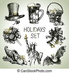 feriados, jogo, desenhado, mão
