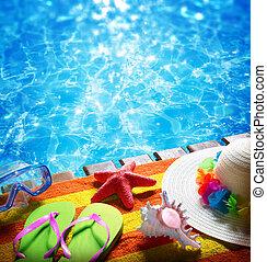 feriados verão, em, piscina