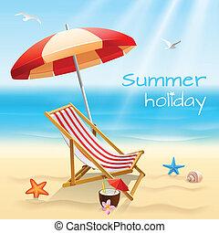 feriados verão, fundo, cartaz