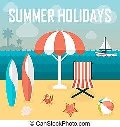 feriados verão, illustration., banhar-se, praia