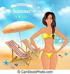 feriados verão, realístico, cartaz