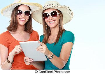 feriados verão, tecnologia, e, internet, conceito