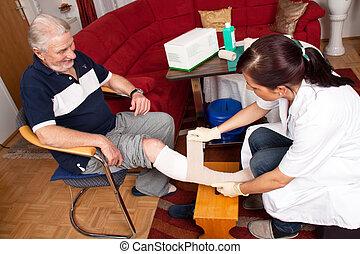 ferida, cuidado, por, enfermeiras