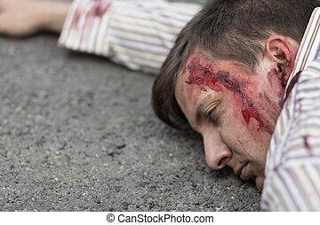 ferido, car, após, homem, acidente