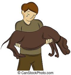 ferido, carregar, cão, homem