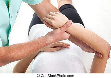 ferido, exame, mão