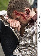 ferido, homem, após, falência carro