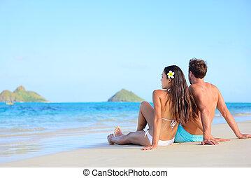 ferie, hawaii, par, garvning, strand, slapp