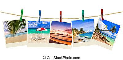 ferie, strand, fotografi, på, tøjklemmer