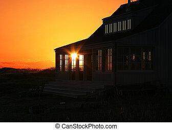 ferie til hjem, solnedgang