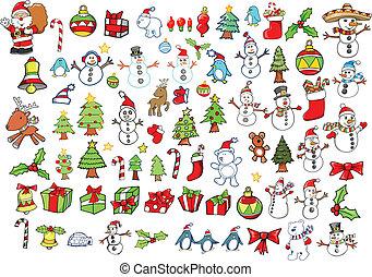 ferie, vektor, sæt, jul, vinter