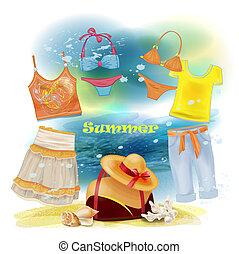 ferie, zbiór, letnie ubranie