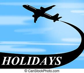 ferier, flyvemaskine, det gengi'r, gå, på, forlad, og, luft
