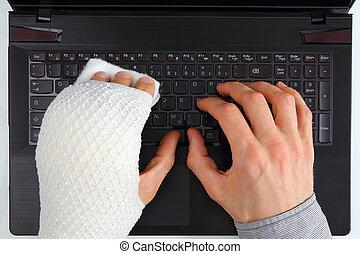 ferimento, caderno, trabalhando, mão