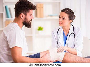 ferimento, homem, doutor