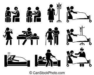 ferimento, medicação, reabilitação, tratamento, doente, doença, hospitalar, home., mulher