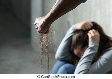 ferir, mulher, doméstico, homem, violência