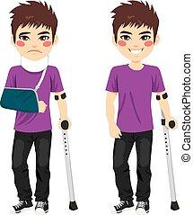 ferito, crutches, ragazzo