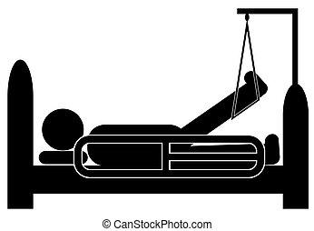 ferito, gamba, ospedale, su, persona, sostegno, dire bugie