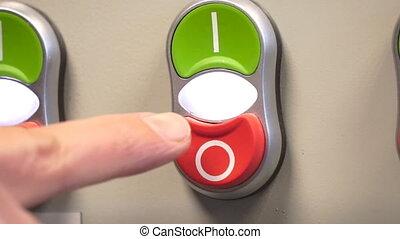 fermé, électrique, switcher., breaker., main, commutateur, électrique, ou, bouclier