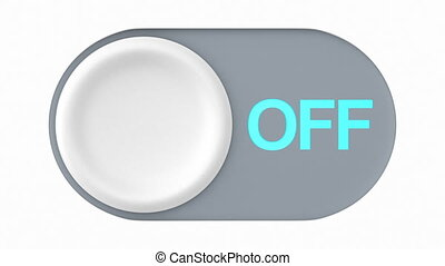 fermé, bouton, illustration, 3d, blanc, arrière-plan.