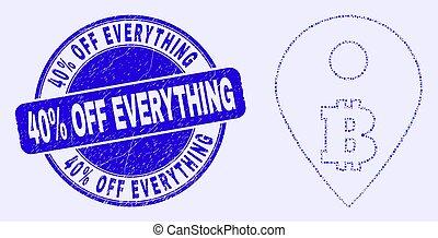 fermé, carte, marqueur, mosaïque, bitcoin, 40%, timbre, bleu, cachet, gratté, tout