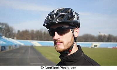 fermé, cycliste, haut, prendre, fin, lunettes