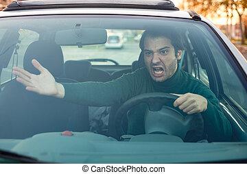 fermé, fâché, chauffeur, lui, mains, devant, homme, faire...
