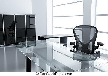 fermé, fauteuil, moderne, temps, table légère, box