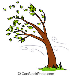 fermé, feuilles, souffler, arbre, vent