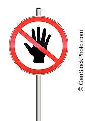 fermé limites, main, entrer, pas, signe