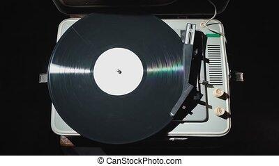 fermé, phonographe, vidéo, tourner, rouges, vieux, clous, ...