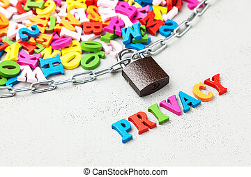 fermé, privé, information., lettres, de, symbole information, emballé, dans, chaîne, et, locked.