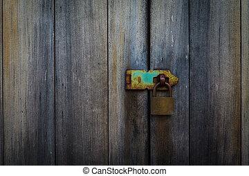 fermé, sécurité, métal, serrure, porte, protection, cadenas