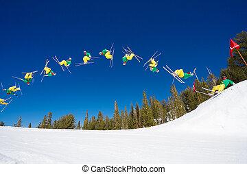fermé, séquence, radical, chiquenaude, dos, saut, skieur